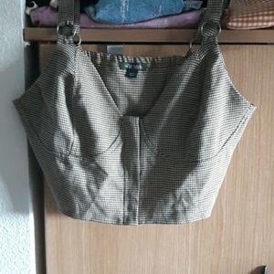 plaid zipper bralette top